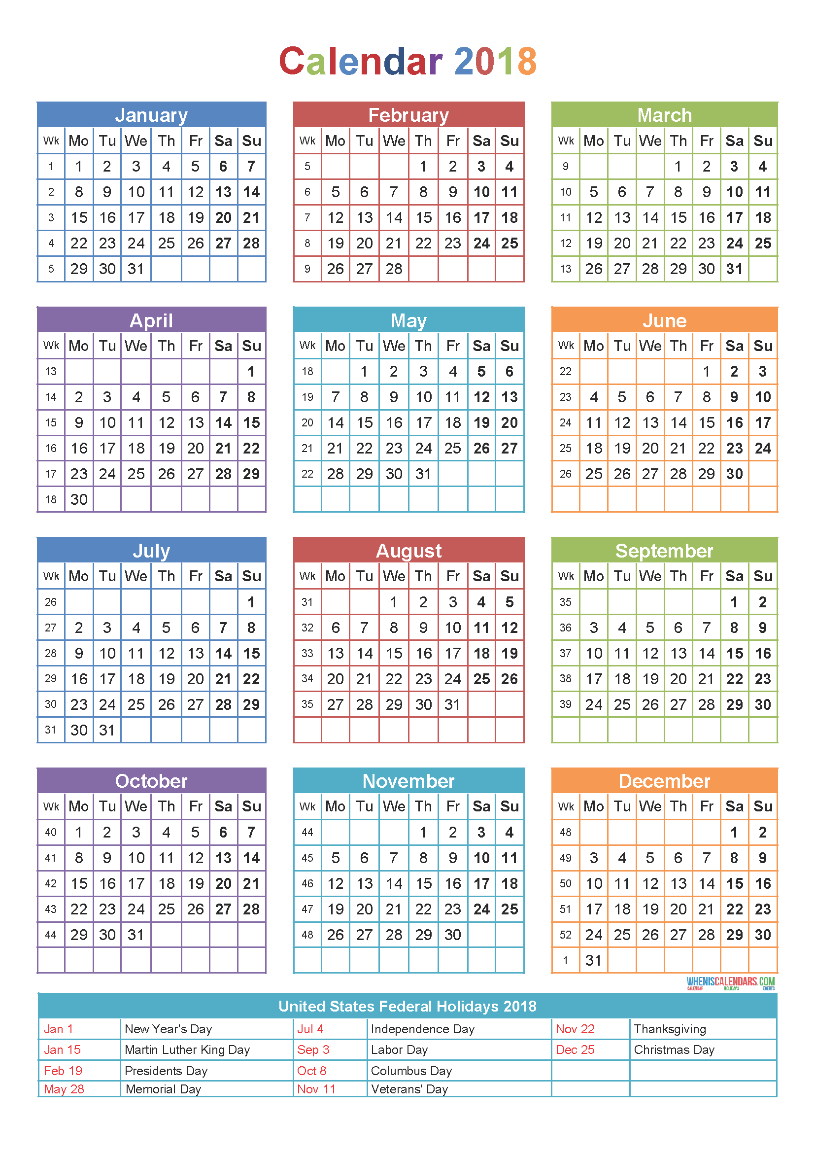 Download Printable us calendar 2018 with holidays list for federal offices
