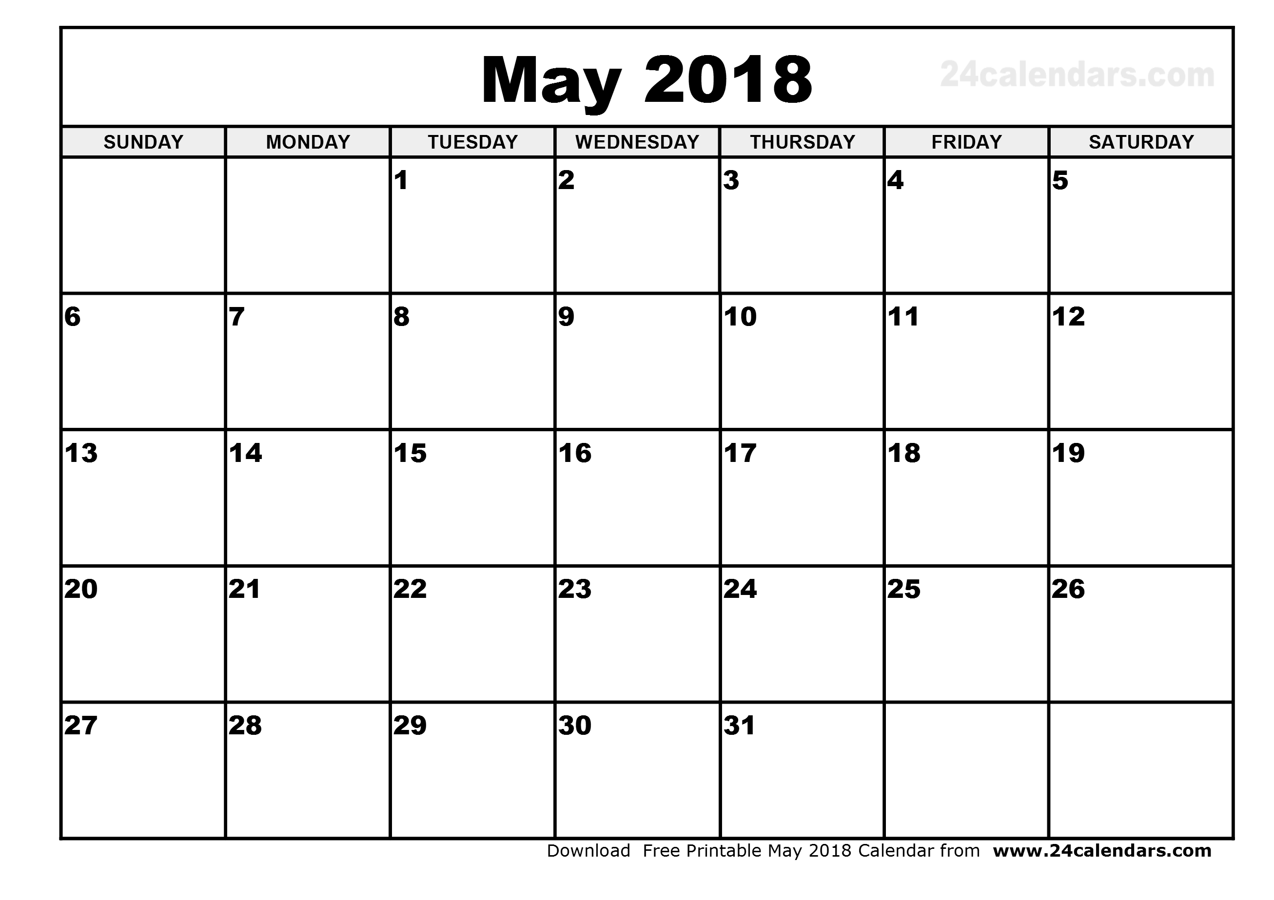 Download may 2018 calendar printable free
