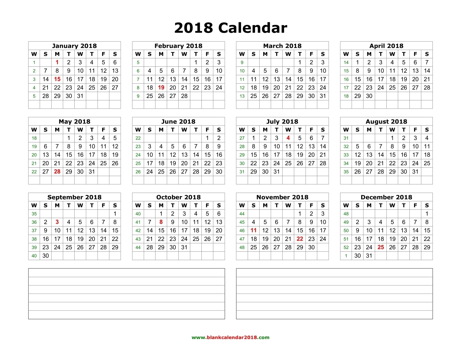 Download printable calendar 2018 with notes