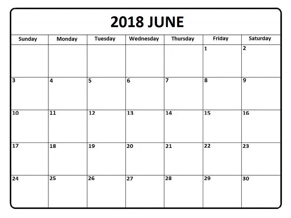 Free June 2018 printable calendar
