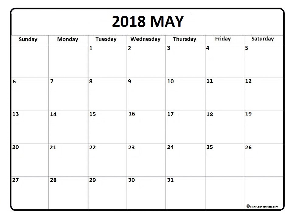 Free Monthly may 2018 calendar printable