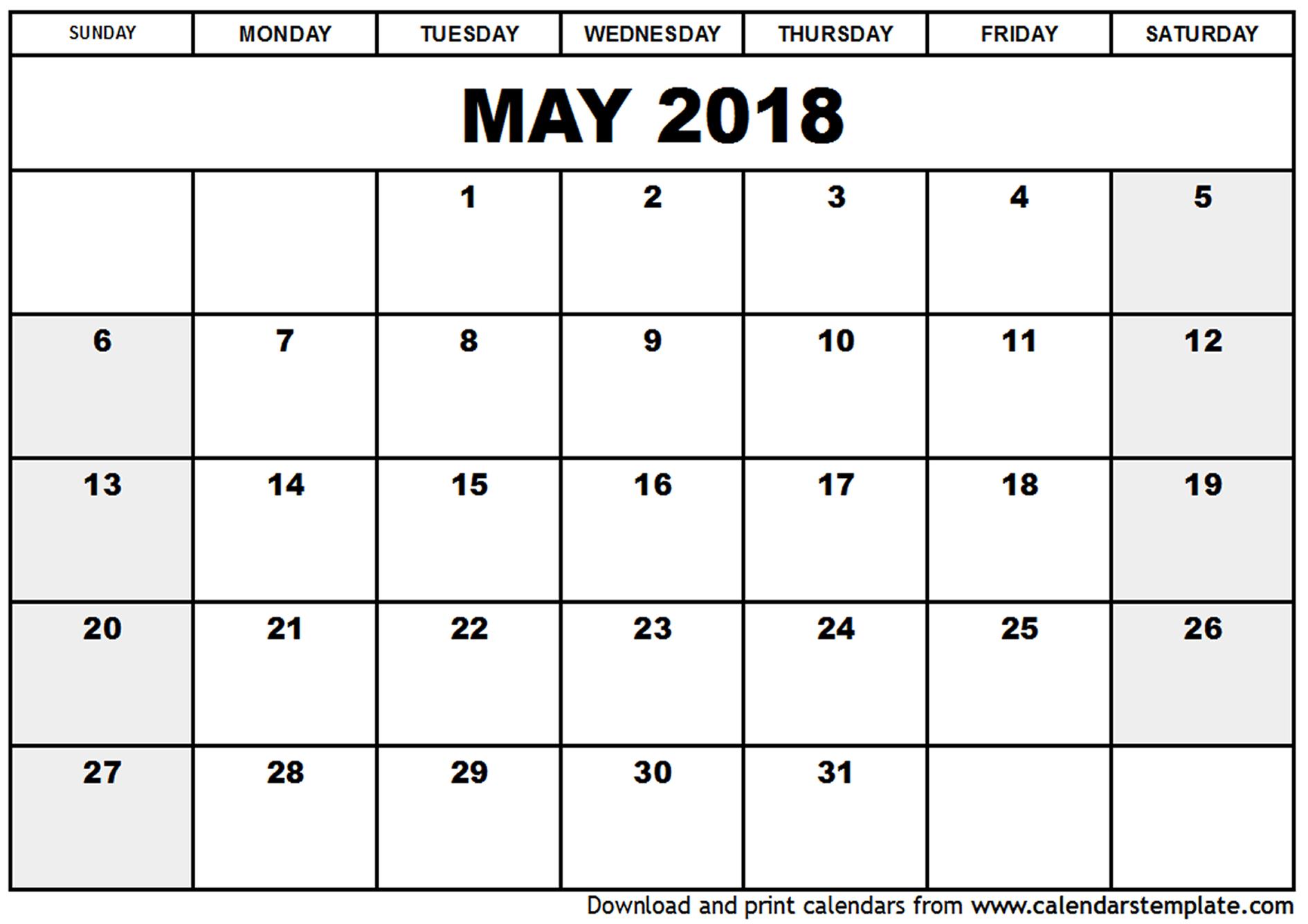 Free may 2018 calendar printable