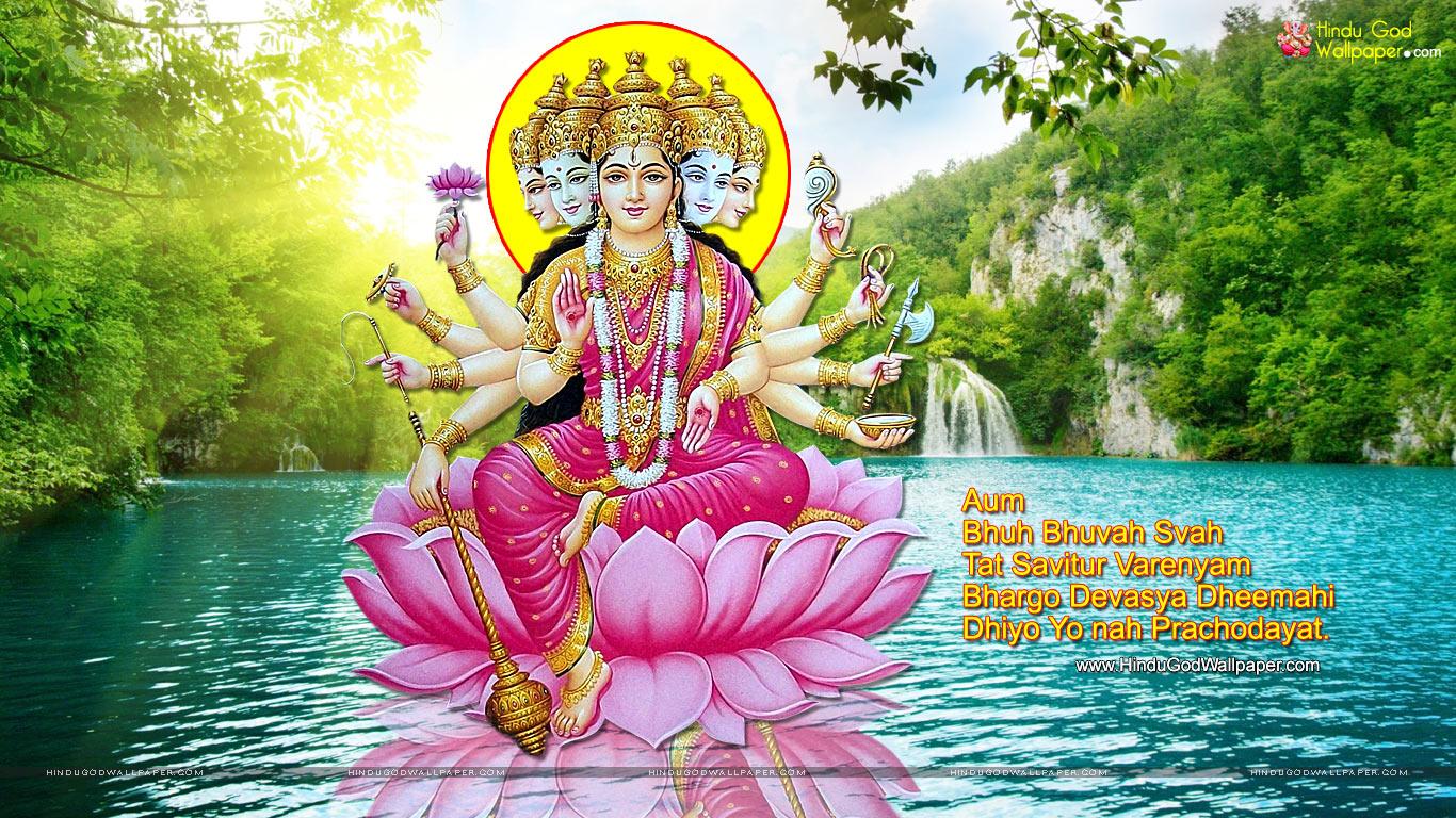 Gayatri mata image with shlok