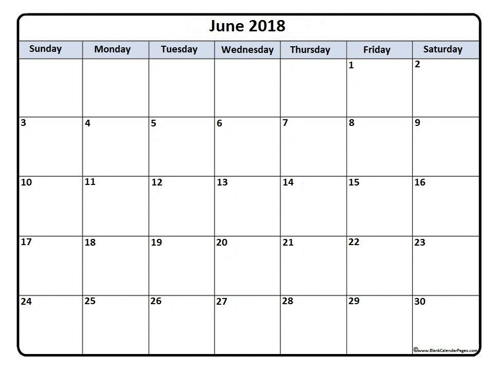 June 2018 printable calendar