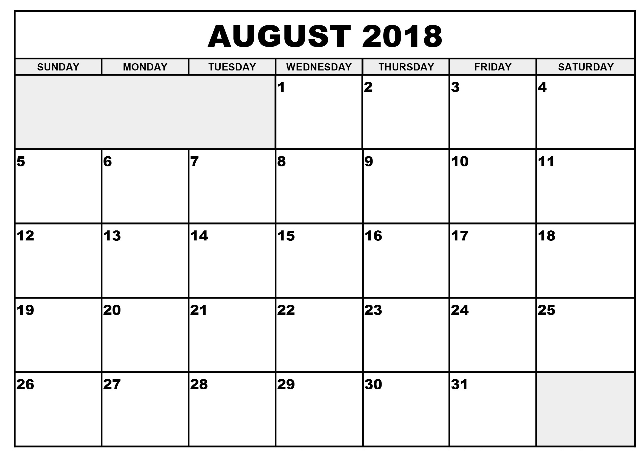 Latest August 2018 calendar printable