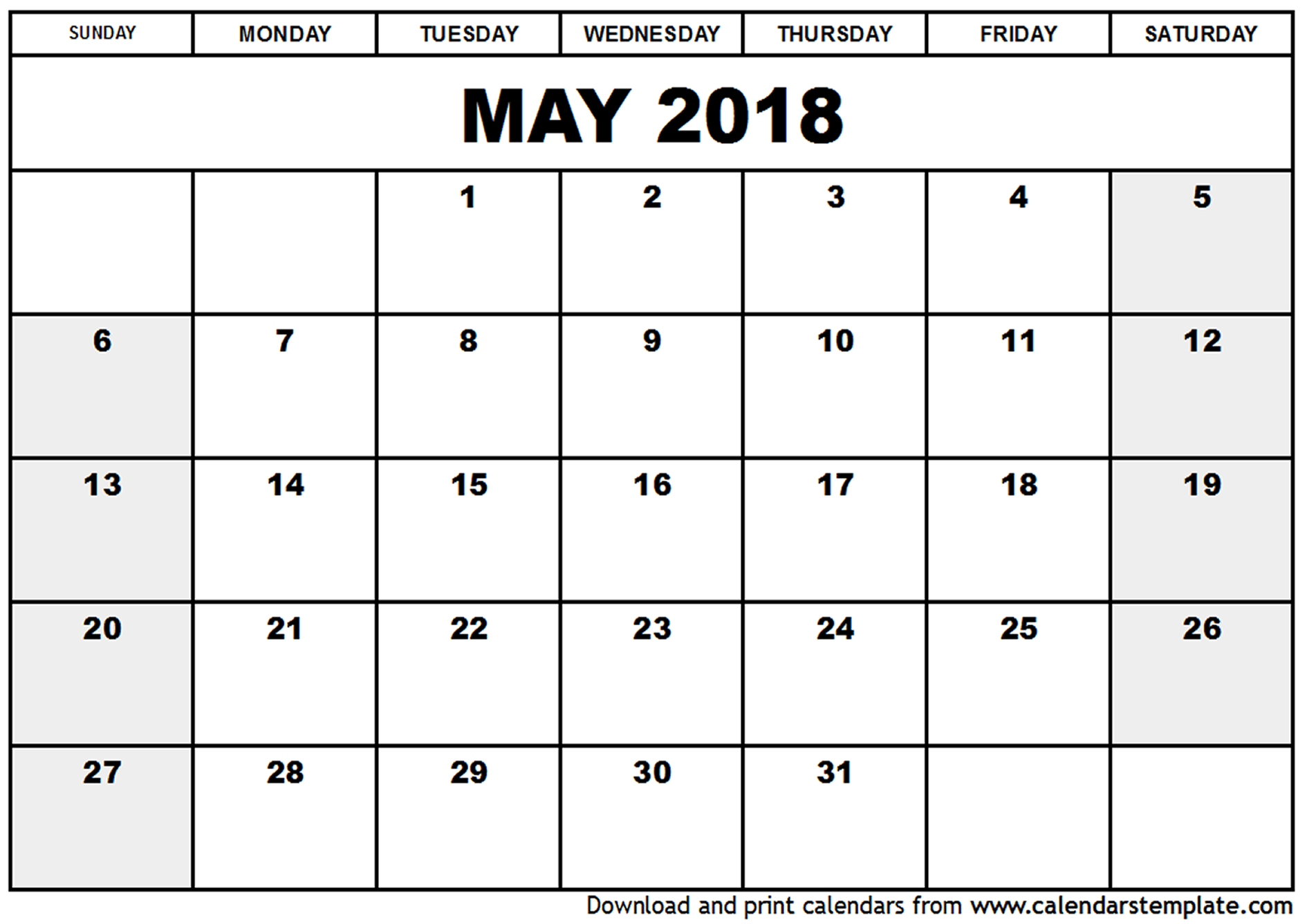 Latest may 2018 calendar printable