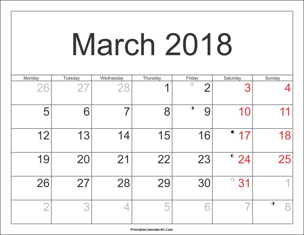 March Printable calendar 2018 america