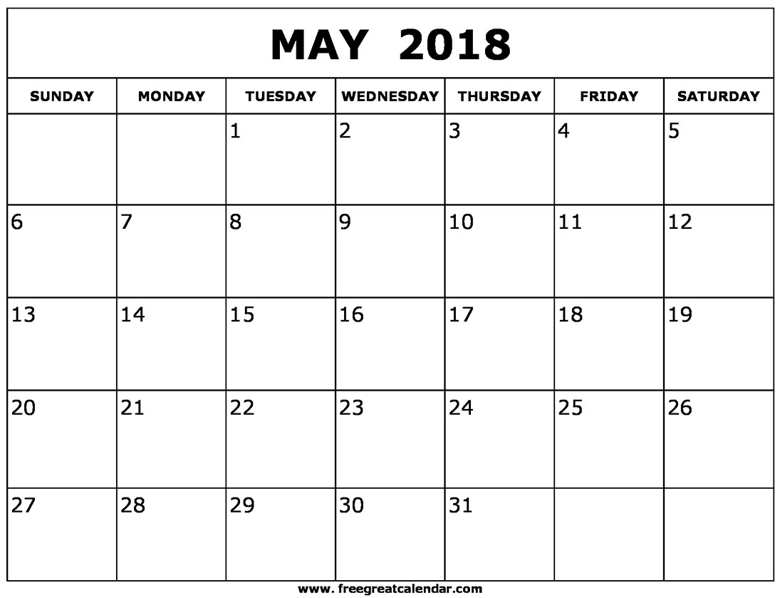 Monthly May 2018 calendar printable