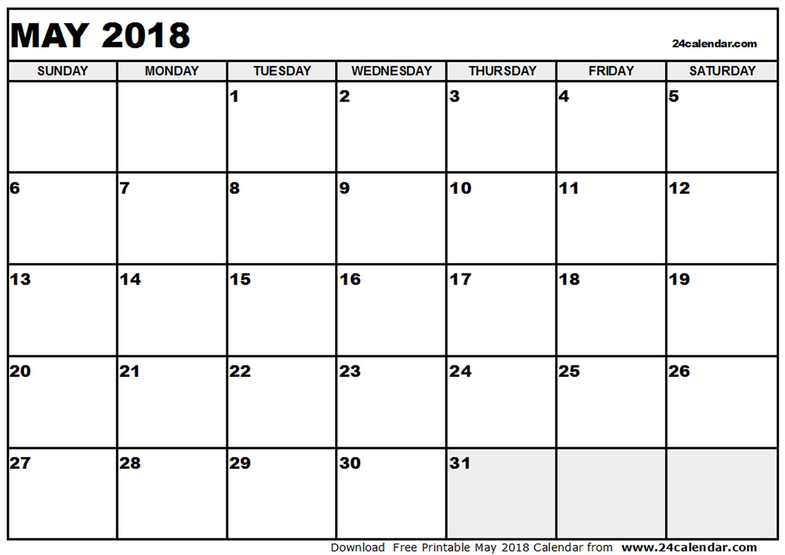 One page May 2018 calendar printable