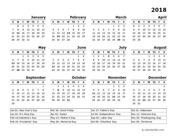 Printable us calendar 2018 with holidays list