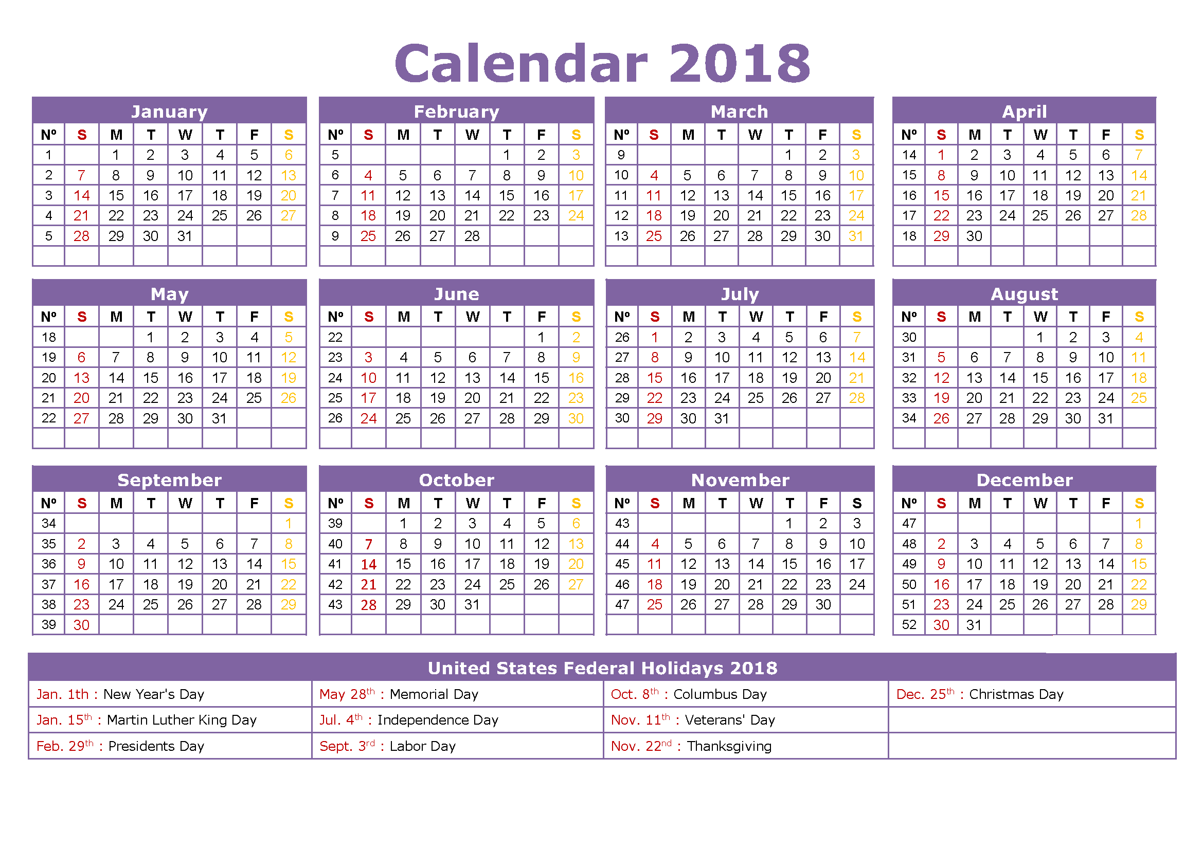 Printable us calendar 2018 with holidays