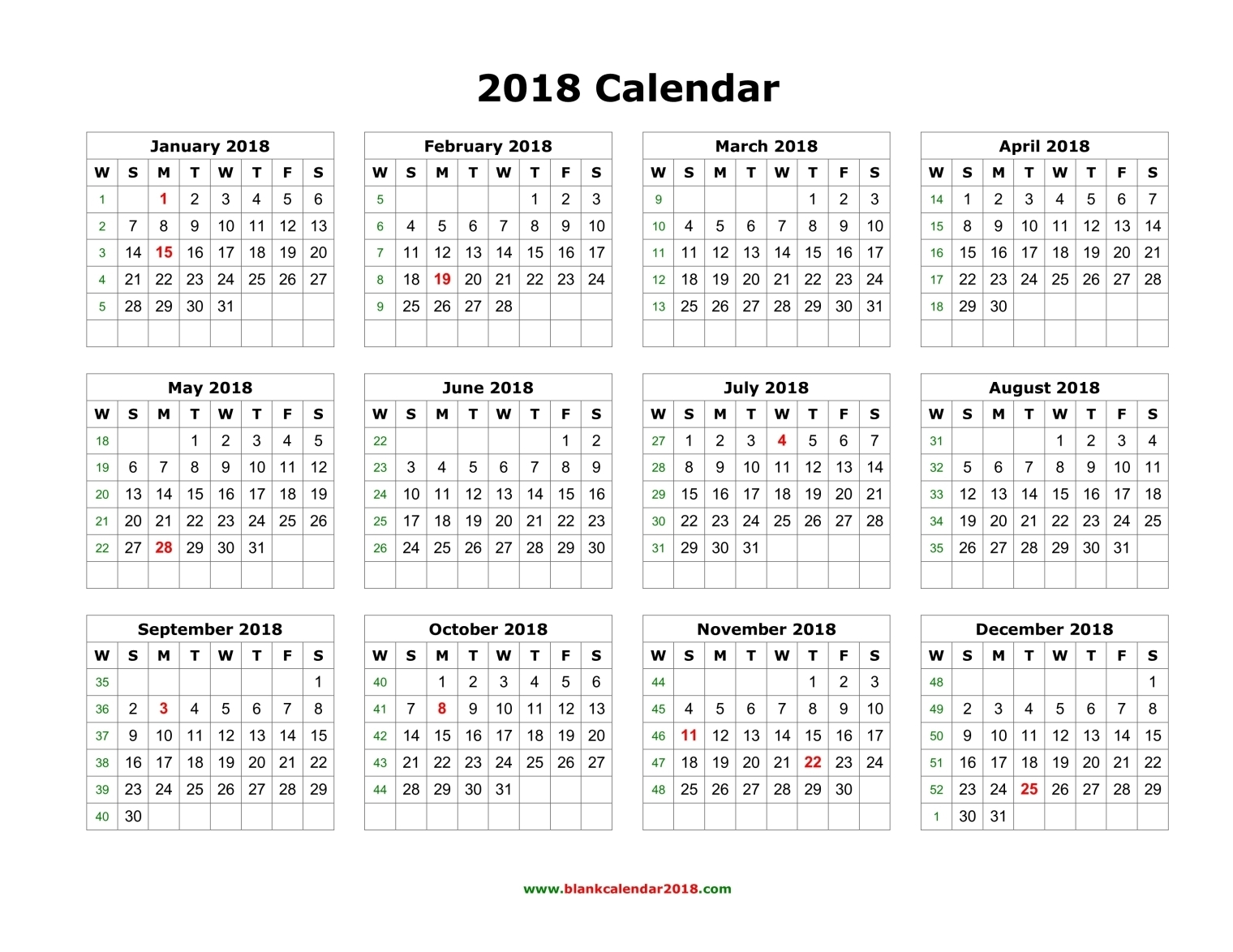 Printable us calendar 2018