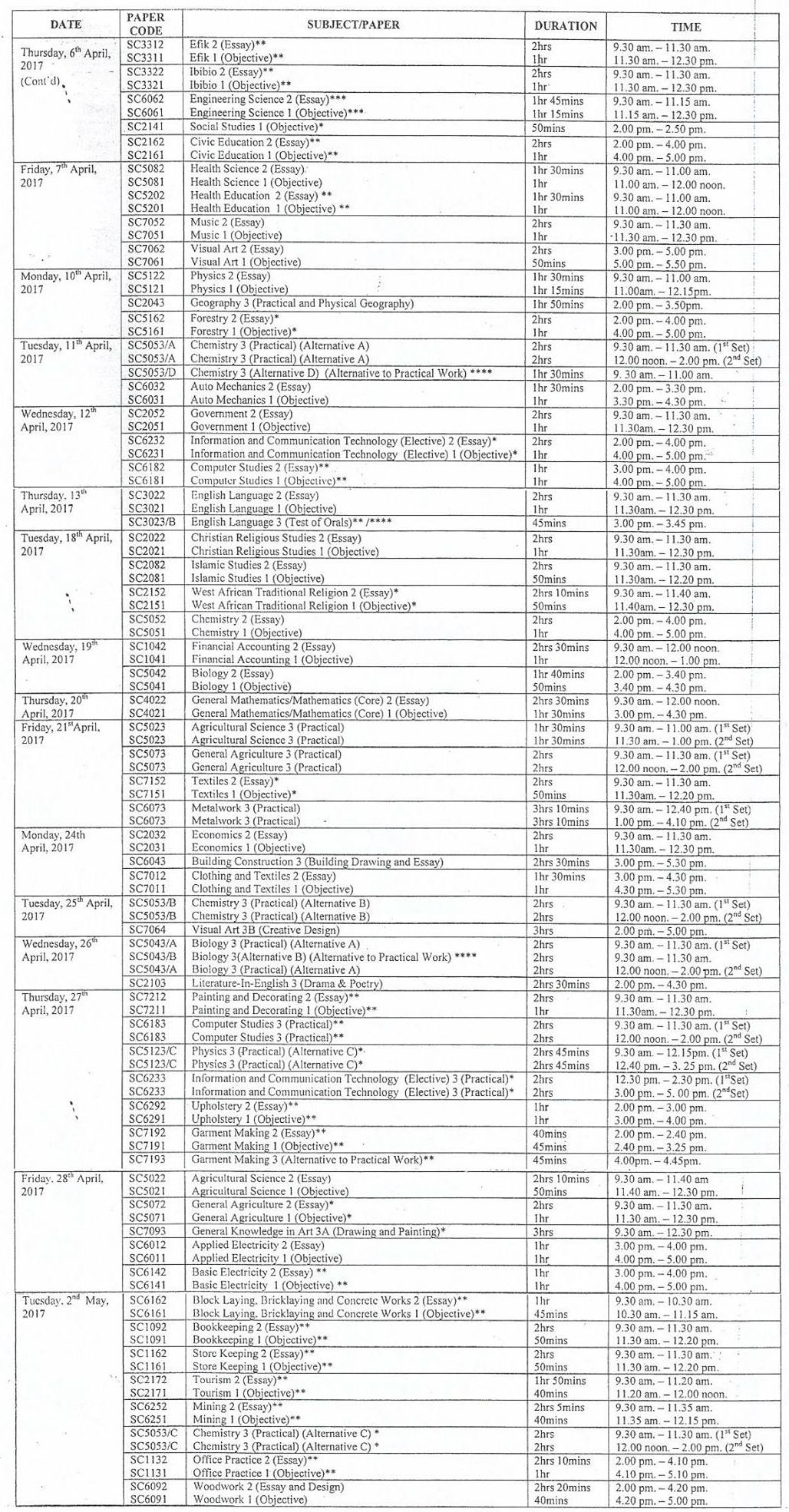 waec timetable  u2013 2020 printable calendar posters images wallpapers free