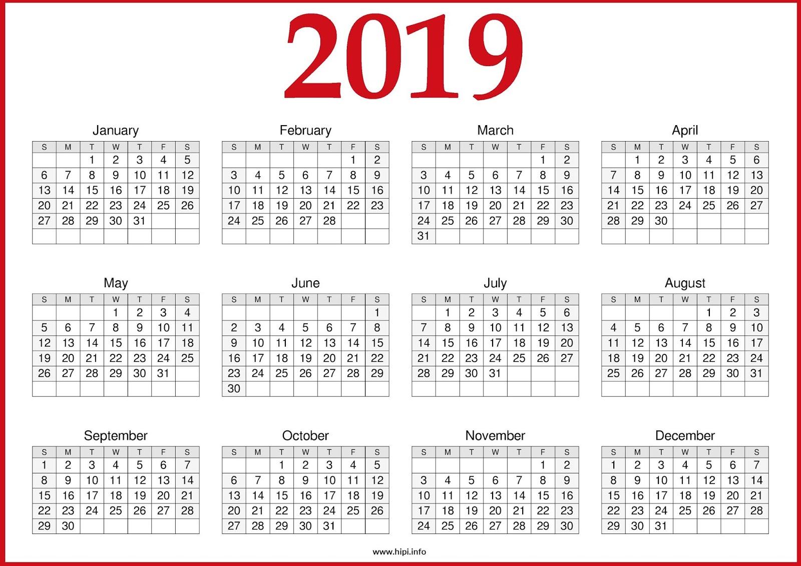 free 2019 calendar printable one page  u2013 2020 printable